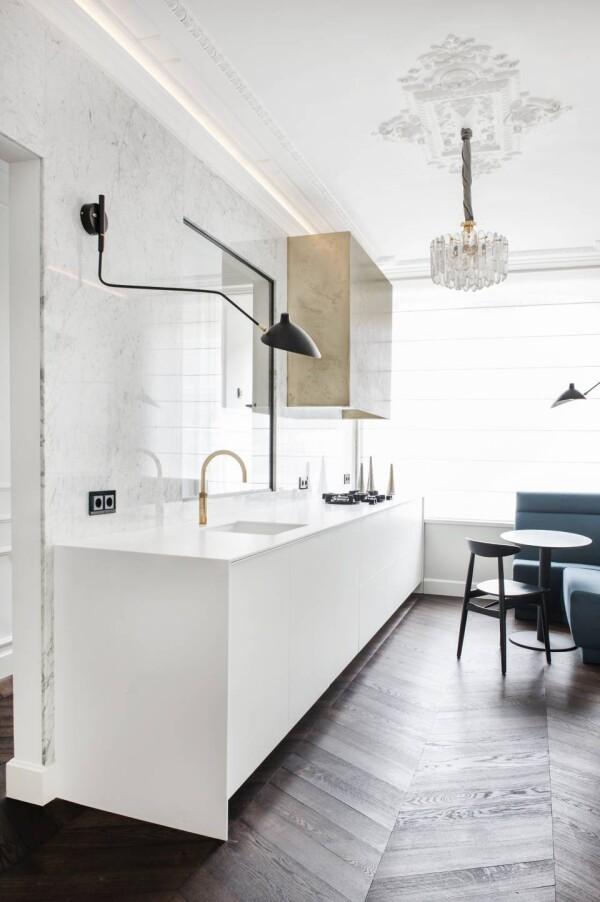 Кухня из белого акрилового камня